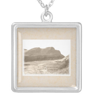Cliffs in sepia color. On beige background. Square Pendant Necklace