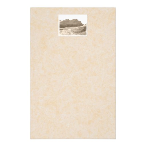 Cliffs in sepia color. On beige background. Customized Stationery