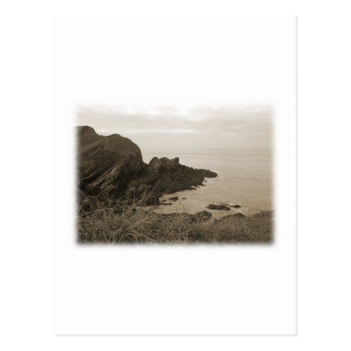 Cliffs in sepia color. On White Background. Postcard