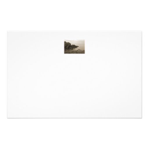 Cliffs in sepia color. On White Background. Stationery