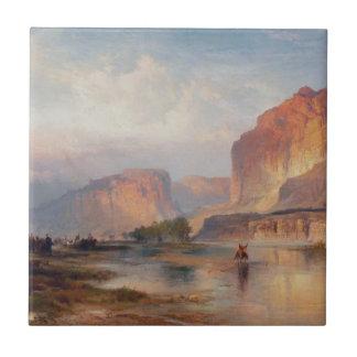 Cliffs of Green River - Thomas Moran (1874) Small Square Tile