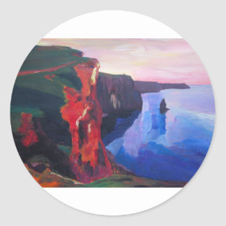 Cliffs of Moher in County Clare Ireland at Sunset Classic Round Sticker