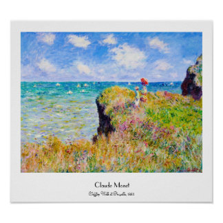 Clifftop Walk at Pourville Claude Monet Poster