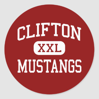 Clifton - Mustangs - High - Clifton New Jersey Classic Round Sticker