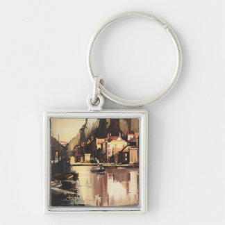 Clifton Suspension Bridge and Boats Silver-Colored Square Keychain