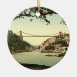 Clifton Suspension Bridge I, Bristol, England Double-Sided Ceramic Round Christmas Ornament