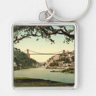 Clifton Suspension Bridge I, Bristol, England Silver-Colored Square Keychain