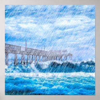 Clima tempestuoso en la isla de Tybee - 12x12 Póster