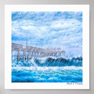 Clima tempestuoso en la isla de Tybee - mini Póster