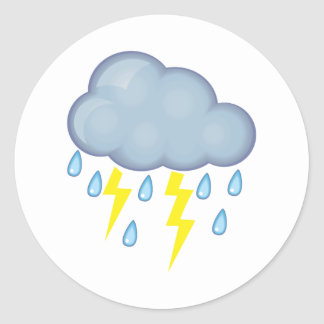 Clima tempestuoso etiqueta redonda