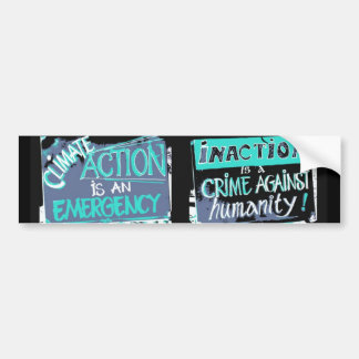 Climate action is an emergency: inaction a crime bumper sticker