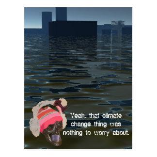 Climate Change CricketDiane CO2 Sea Level Rise Postcard