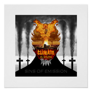 Climate Change Denial Demon Realistic Painting Perfect Poster