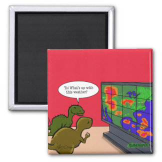 Climate Change Dinosaurs 2 Inch Square Magnet