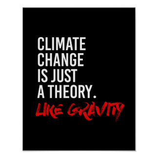 CLIMATE CHANGE IS JUST A THEORY LIKE GRAVITY - - P POSTER