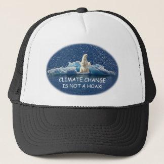 CLIMATE CHANGE IS NOT A HOAX Polar Bear on Iceberg Trucker Hat