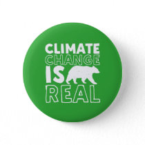 Climate Change Is Real Global Warming Polar Bear Button