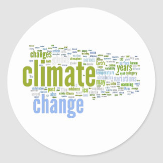climate change one round stickers