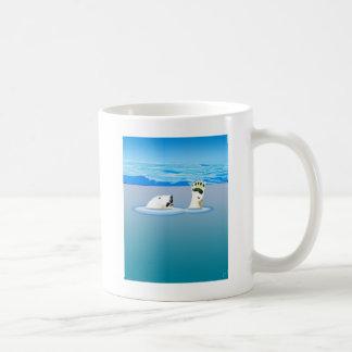 Climate Change: Polar Bear Going Under Coffee Mug