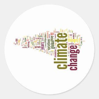 climate change three round stickers