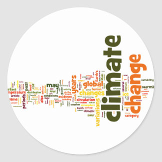 climate change two round stickers