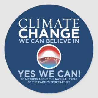 Climate Change - Yes We Can Obama Parody Stickers
