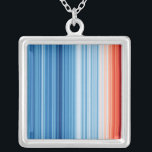 "Climate Stripes Necklace<br><div class=""desc"">Start a conversation about climate change. Global temperatures have risen by over 1°C since the industrial revolution. These stripes represent global average temperature in each year from 1850 to 2018,  clearly illustrating the warming planet as the colors change from cool blue to warm red.</div>"