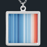 """Climate Stripes Necklace<br><div class=""""desc"""">Start a conversation about climate change. Global temperatures have risen by over 1°C since the industrial revolution. These stripes represent global average temperature in each year from 1850 to 2018,  clearly illustrating the warming planet as the colors change from cool blue to warm red.</div>"""