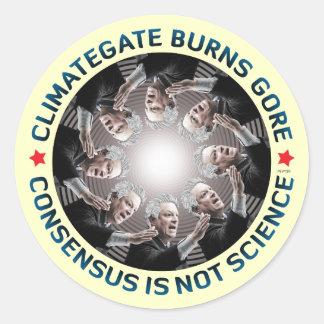 Climategate Burns Gore Classic Round Sticker