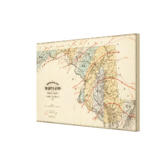 Climatological map of the State of Maryland Canvas Prints