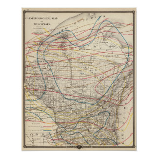 Climatological map of Wisconsin Poster