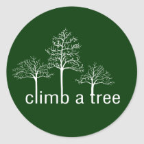 Climb a tree design classic round sticker