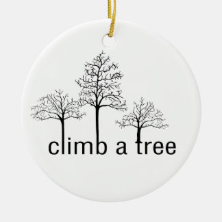 Climb a tree design Double-Sided ceramic round christmas ornament