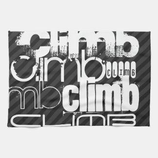 Climb; Black & Dark Gray Stripes Towels