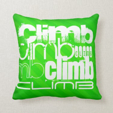 Climb; Neon Green Stripes Throw Pillow