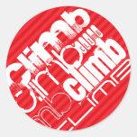 Climb; Scarlet Red Stripes Classic Round Sticker