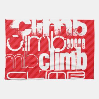 Climb; Scarlet Red Stripes Hand Towel
