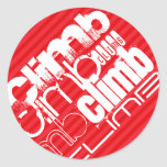 Climb; Scarlet Red Stripes Round Sticker
