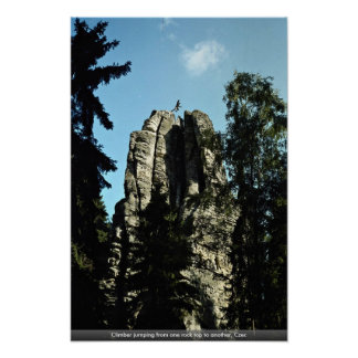 Climber jumping from one rock top to another, Czec Poster