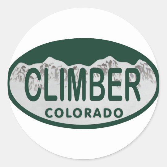 climber license oval classic round sticker