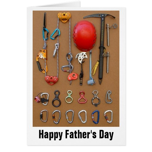 Climbers Equipment greeting for Dad Cards
