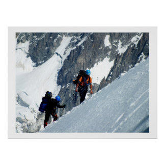 Climbers on Mont Blanc, France Poster