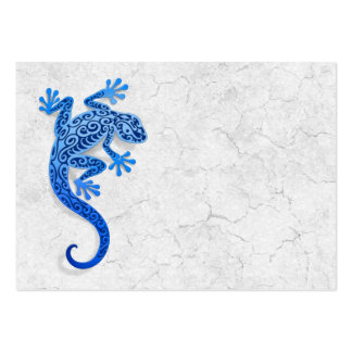 Climbing Blue Gecko on a White Wall Business Card Templates