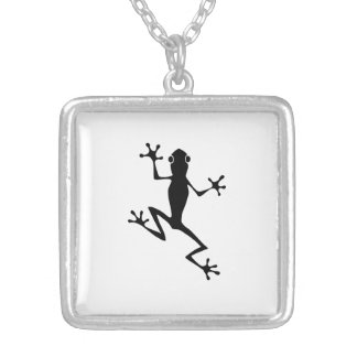 Climbing Frog Silhouette Necklace