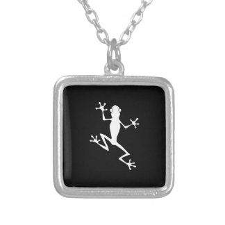 Climbing Frog Silhouette Personalized Necklace