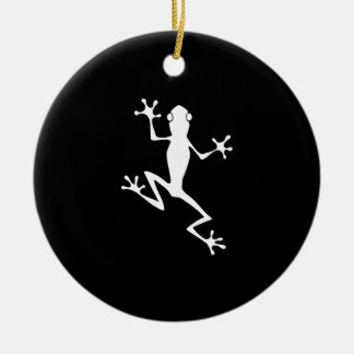 Climbing Frog Silhouette Double-Sided Ceramic Round Christmas Ornament