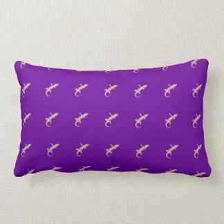 Climbing Gecko on Purple Lumbar Pillow