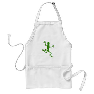 Climbing Green Frog Silhouette Adult Apron