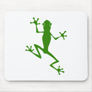 Climbing Green Frog Silhouette Mouse Pad