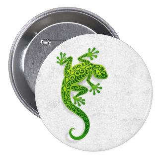 Climbing Green Gecko on a White Wall Button
